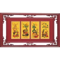 C01 彩色黃金圖匾額-四季平安